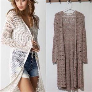 American Eagle knit crochet duster cardigan medium